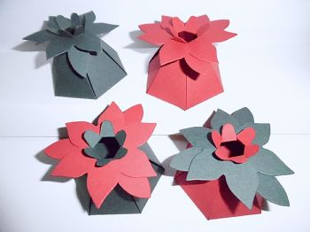 Poinsettia FLOWER Top Gift Box Red & Green Card  x 10